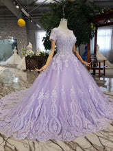 Short Sleeves Beaded Lilac Prom Dress, Quinceanera Gown Appliques Ball Gown OP875