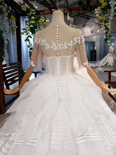 Sequins Ball Gown Half Sleeves Quinceanera Dress, Sheer Neck Long Wedding Dress OP876