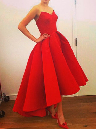 Red Short Graduation Dresses Sweetheart High Low Prom Dress OM485