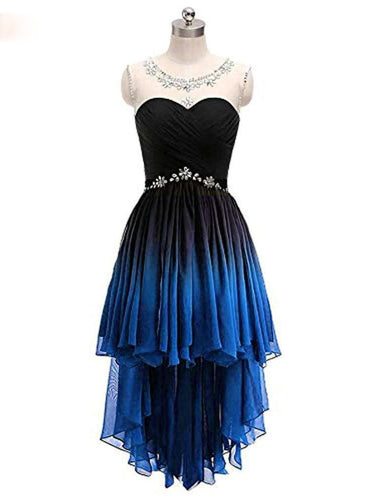 Ombre Short Prom Dresses Scoop Chiffon Beading High Low Party Dress PO012