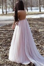 Spaghetti Straps Beach Backless Long Bridesmaid Dresses with Handmade Flowers OB260