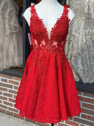 A-line V-Neck Lace Red Homecoming Dress, Short Lace Party Dress OM467