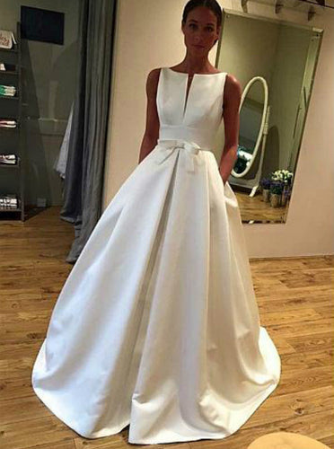 Bateau Neckline Satin Bridal Gowns Simple Wedding Dress With Pockets OW511