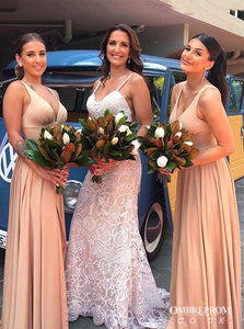 Simple Long Bridesmaid Dresses A-line Wedding Guest Dress With Split OB281