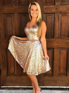 Sparkly V Neck Two Piece Gold Sequin Homecoming Dresses Party Dress OM420