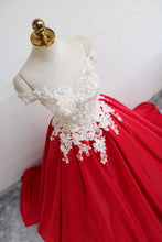 Princess Off Shoulder Lace Appliques Red Long Prom Dress With Lace-up OP1020