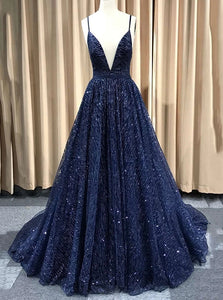 Sparkly Navy Blue Long Prom Dress, Backless Glitter Formal Evening Dress OP1017