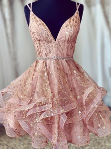 Sparkly Pink Sweet 16 Dress V-neck Beaded Short Prom Dress With Lace-up OM442