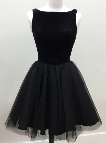 A-line Jewel Prom Dress Short Black Tulle Homecoming Dresses OM537