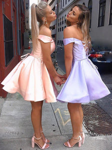 A-Line Satin Off-Shoulder Simple Short Prom Homecoming Dress OM478