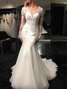 Mermaid V-neck Long Sleeve Appliques Wedding Dresses With Sheer Back OW588