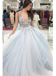 A-line V-neck Floral Appliques Tulle Graduation Gown Long Prom Dress OP1010