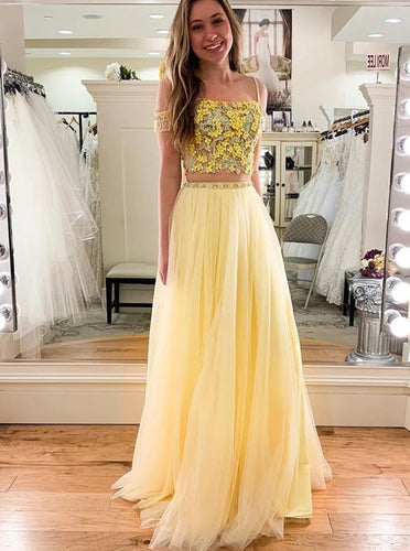Elegant Lace Appliques Top Yellow Prom Dress Two Piece Formal Dress OP1011