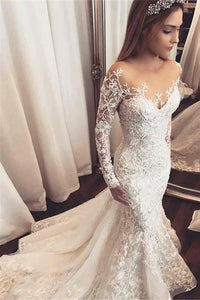 Sexy Mermaid Long Sleeve Lace Applique Wedding Dresses With Beading OW535