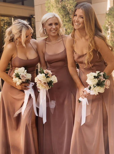 Sleek Simple Floor Length Bridesmaid Dresses Backless with Slit OB305