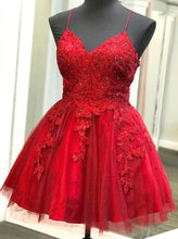 Strappy Short Homecoming Dresses Lace Applique Red Short Prom Dress OM492