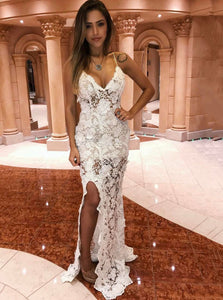 Sexy Ivory Mermaid Spaghetti Straps Lace Long Prom Evening Dress PO037