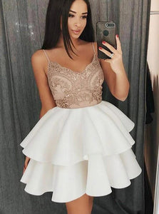 Spaghetti Strap Lace Short Homecoming Dress With Satin Ruffled OM505