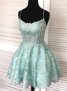 Spaghetti-straps Mint Green Short Lace Backless Homecoming Dresses OM504