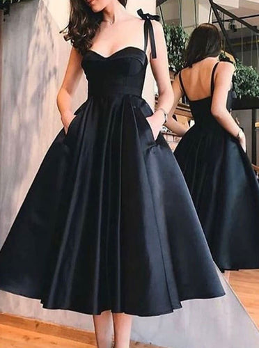 Straps Black Short Prom Dresses Homecoming Dress With Pockets PO019