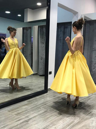 Elegant Yellow A-line Tea Length Homecoming Dress with Criss Cross OM499