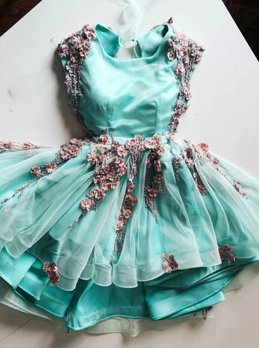 Mint Green Tulle Short Prom Homecoming Dresses With 3D Applique OM502