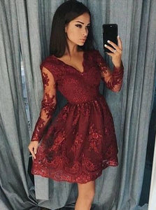 Burgundy Homecoming Dresses Long Sleeve Lace Short Prom Dress OM514