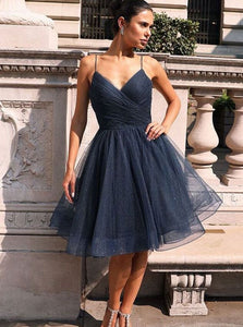 Sparkly Navy Blue Knee Length Homecoming Dresses Prom Dresses OM512