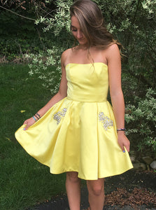 Daffodil Strapless Short Homecoming Dresses With Beading Pockets OM523