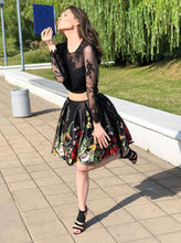Lace Long Sleeve Jewel Black Homecoming Dresses Two Piece Short Prom Dress OM520