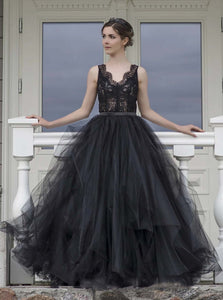 A-line Lace Bodice Tulle Long Prom Dress, Black Formal Evening Dress OP1019