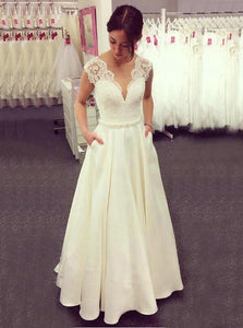 A-line V-neck Lace Top Ivory Wedding Dresses Satin Skirt With Pockets OW516