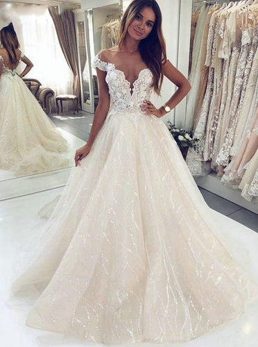 Off Shoulder Lace Beach Wedding Dress with Sequined Appliques OW541