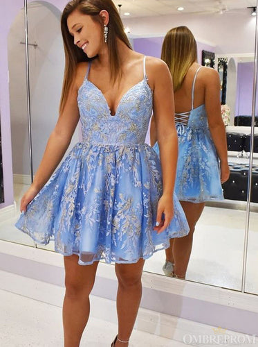 Spaghetti Straps V-neck Short Prom Dress Appliques Homecoming Dress OM424