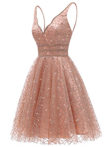 Glitter Deep V-Neck Mini Homecoming Dresses Junior Graduation Dresses OM488