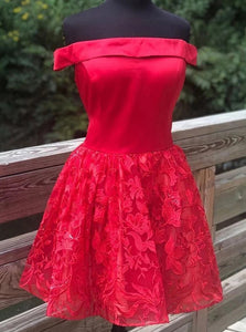 A-line Off Shoulder Satin Red Homecoming Dress With Lace OM494