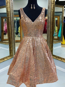 A-line V-Neck Sequins Short Prom Dress, Gold Homecoming Dress OM475