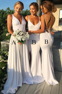 White V-Neck Long Bridesmaid Dresses A/B Styles with Pleats OB219