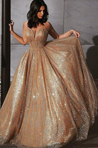 Sparkly A Line Long Prom Dresses Sequin V-neck Evening Dress PO034