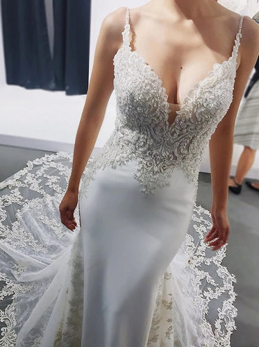Mermaid V-neck Backless Spaghetti Wedding Dresses With Appliques OW589
