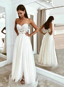 Boho Beach Wedding Dresses Long Lace Applique Tulle Sweetheart Bridal Dress With Split OW540