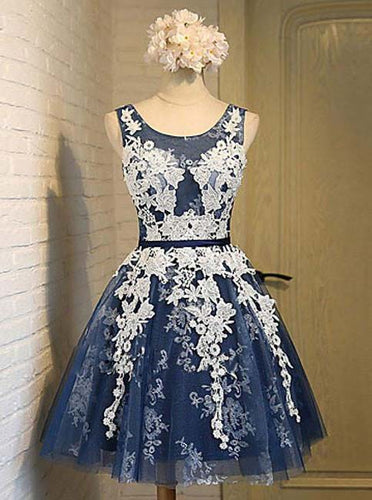 Navy Blue Short Prom Dress, Appliques Graduation Homecoming Dresses OM444