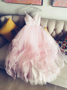 Simple A-line V-neck Tulle Pink Prom Dress, Princess Pink Bridal Gown OW528