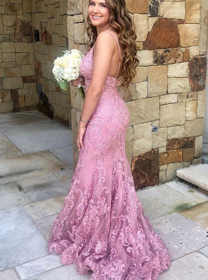 Spaghetti-straps Mermaid Lace Pink Prom Dresses Graduation Gown OP835