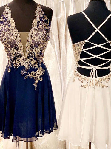 A-line Beading Chiffon Navy Blue Homecoming Party Dress OM324