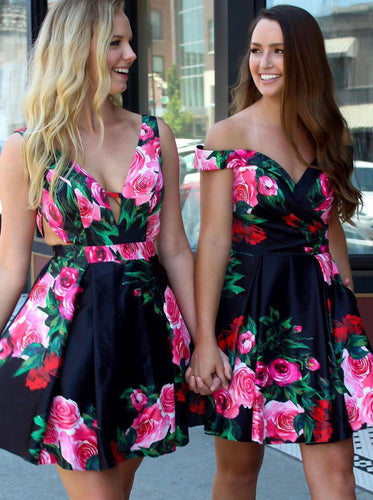 A-line Floral Print Short Prom Dresses Black Homecoming Dress OM332