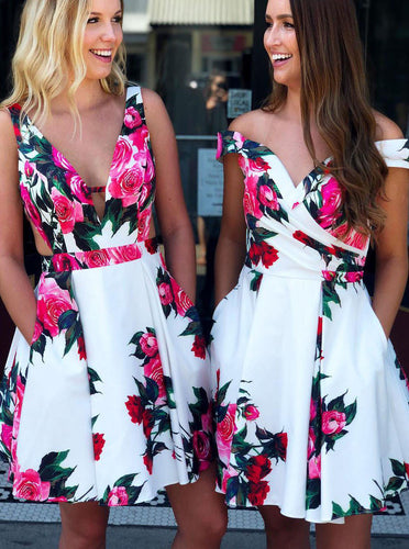 A-line Floral Print Short Prom Dresses White Homecoming Dress OM333