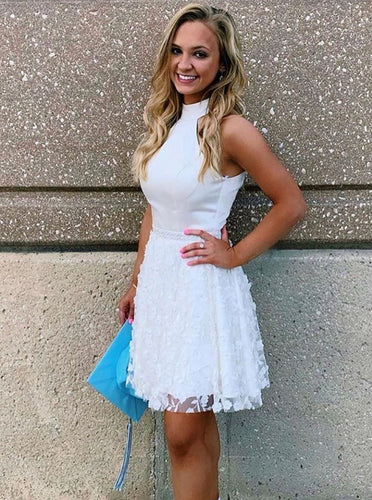 A-line High Neck White Short Homecoming Dress With Beading Applique OM328