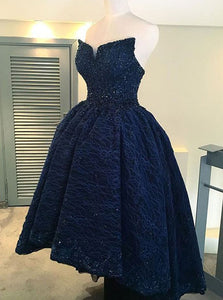 High Low Navy Blue Lace Prom Dresses Strapless Ball Gown Homecoming Dress OP831