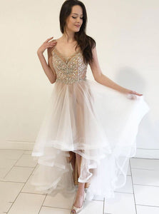 Cute A-line V Neck Beads Tulle Hi-Lo Prom Dresses, Spaghetti Graduation Gown OP830